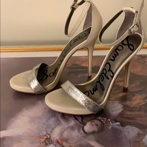 Sam Edelman silver and white heels